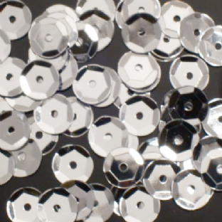 Value Pack 50g 8mm Metallic Silver Semi-cupped Sequins.